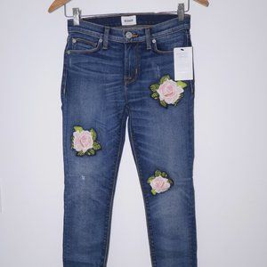 HUDSON Nico Skinny Ankle W/Rose Embroidery